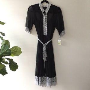 IE Shirtdress Slipdress Size 10 Black White Floral
